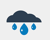 Rain Icon flat style isolated on grey background with cloud symbol.