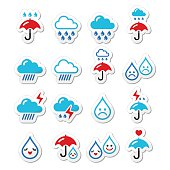 Rain, thunderstorm, heavy clouds  vector icons set