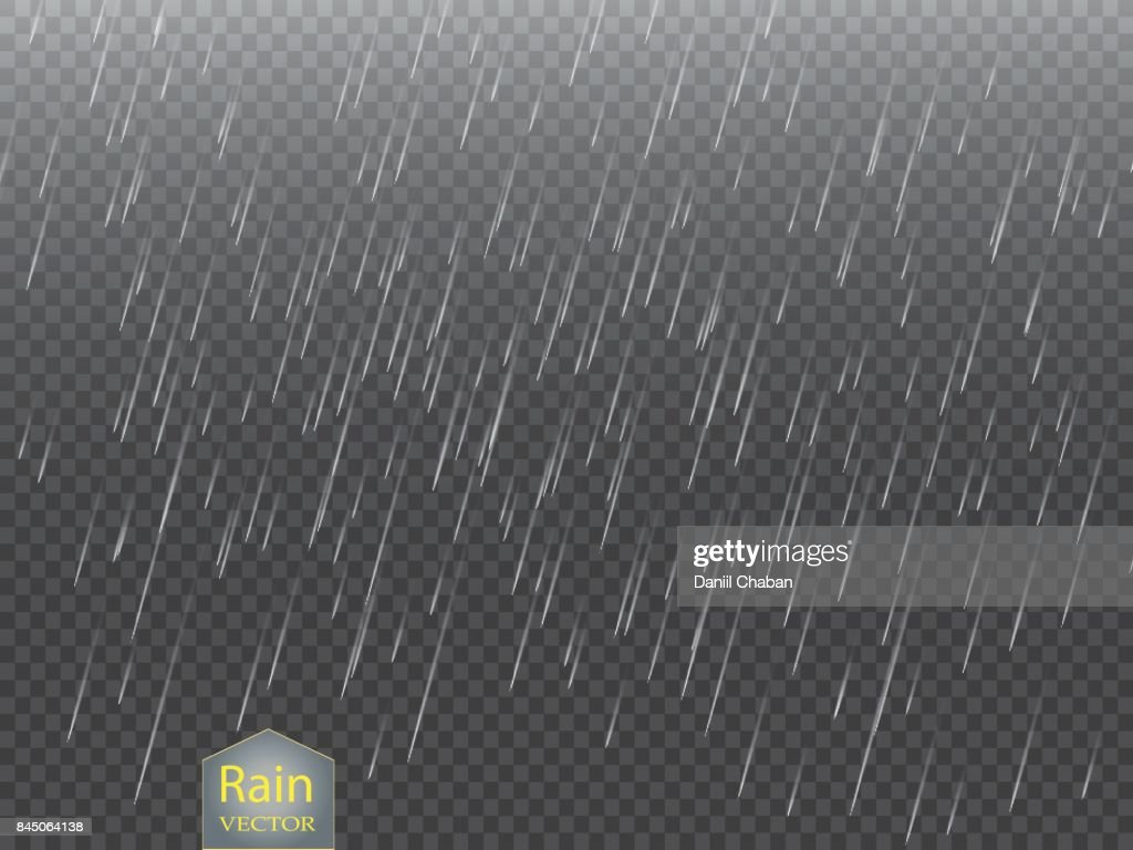 Rain transparent template background. Falling water drops texture. Nature rainfall on checkered background