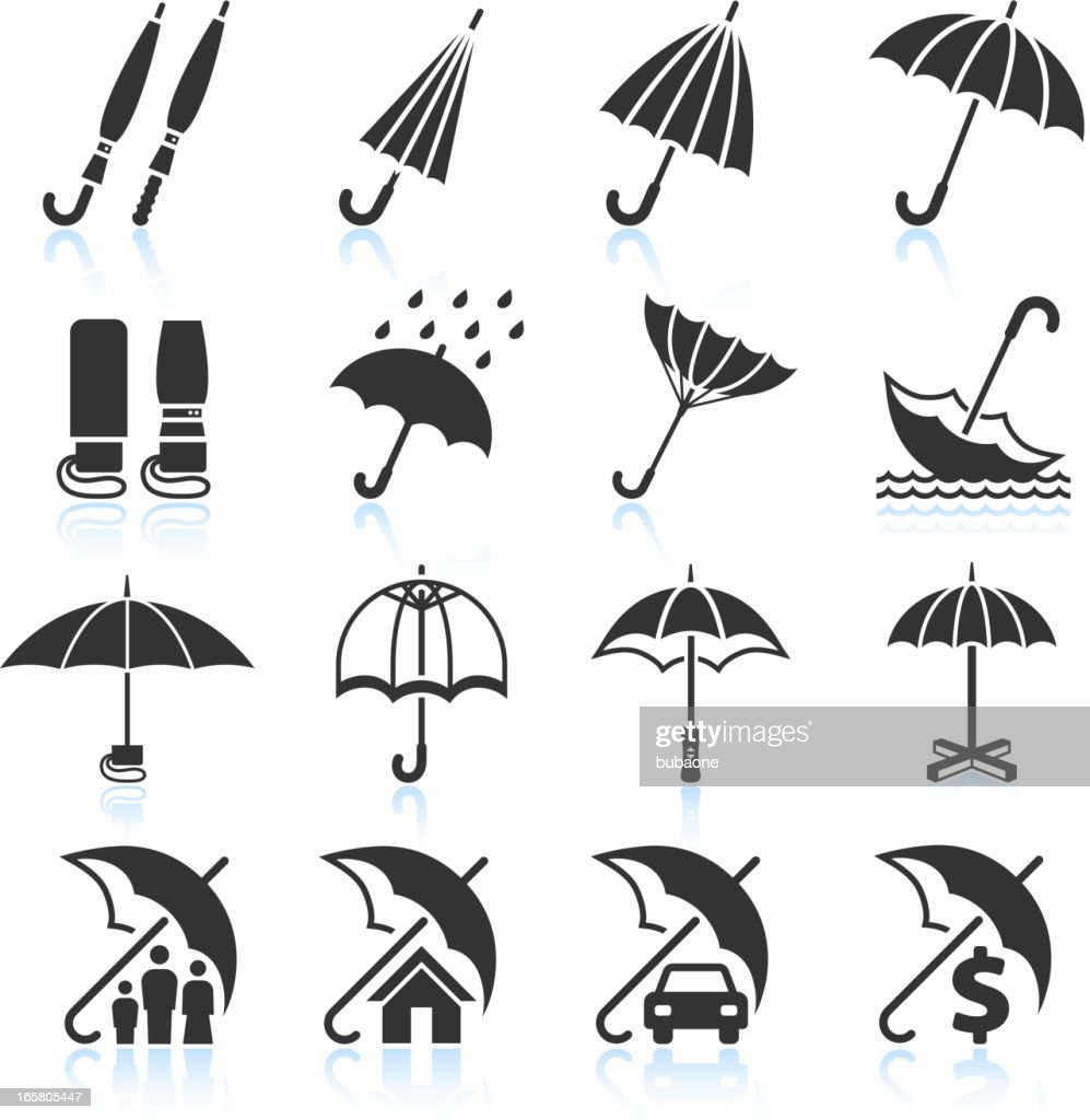 Rain Umbrella Protection and insurance royalty free vector icon set : stock illustration