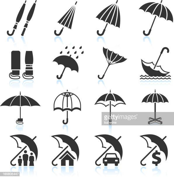 Rain Umbrella Protection and insurance royalty free vector icon set