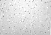 Rain Water Drops On Glass with Gray Background