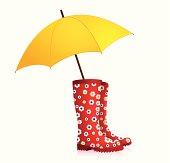 Rainboots with umbrella