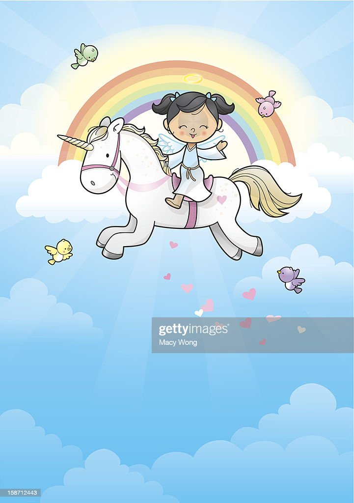 Rainbow angel girl riding unicorn
