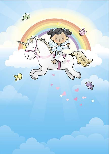rainbow angel girl riding unicorn - unicorn stock illustrations
