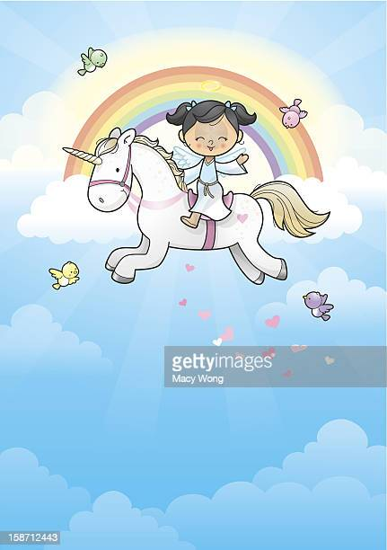 rainbow angel girl riding unicorn - unicorn stock illustrations