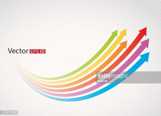 rainbow arrows - moving up stock illustrations
