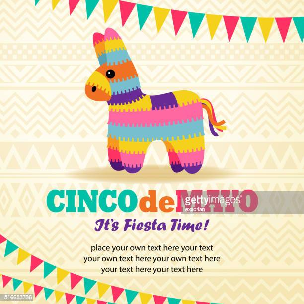 rainbow burro pinata - cinco de mayo stock illustrations