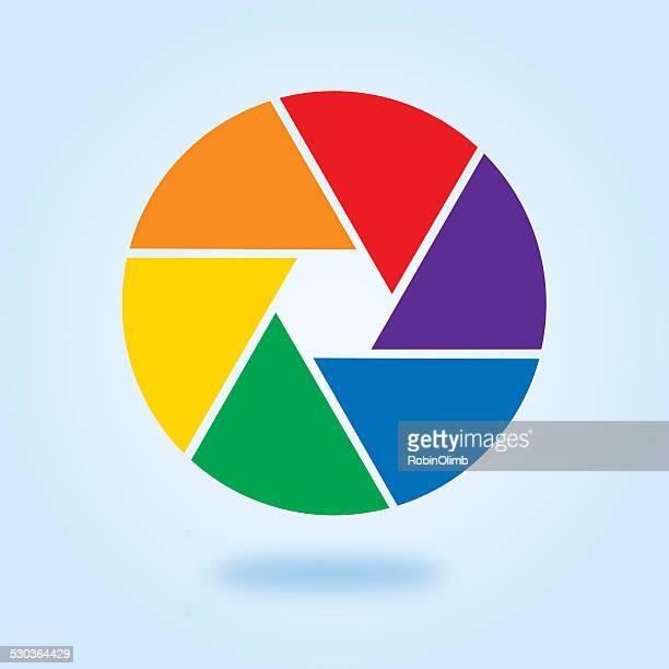 rainbow camera shutter - aperture stock illustrations, clip art, cartoons, & icons