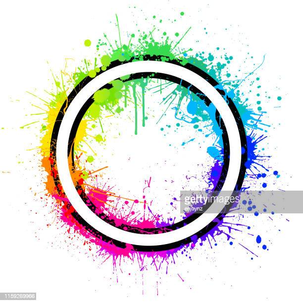 rainbow circle splash - splashing droplet stock illustrations, clip art, cartoons, & icons