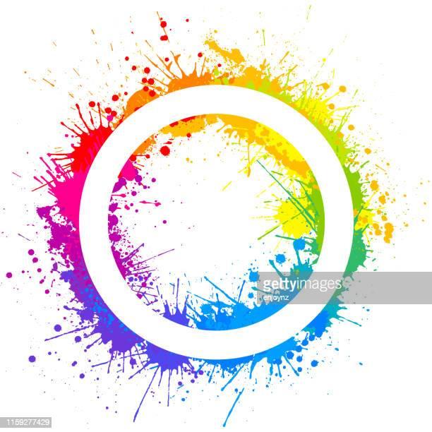 regenbogen-kreis-splash - lgbtqia kultur stock-grafiken, -clipart, -cartoons und -symbole