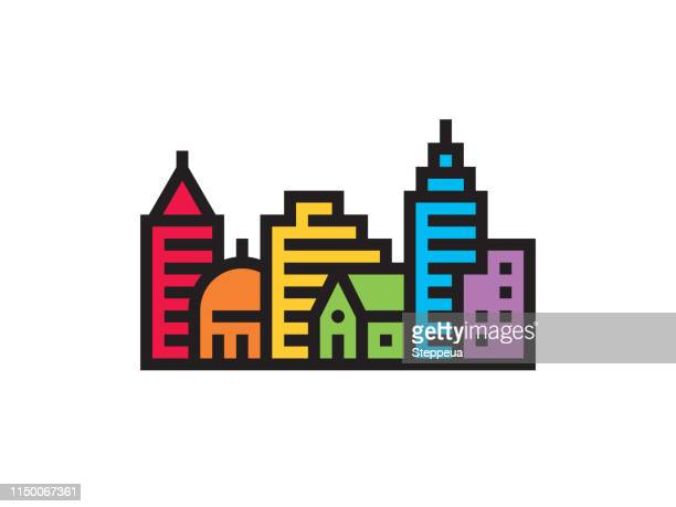 rainbow city landscape - gay stock illustrations, clip art, cartoons, & icons
