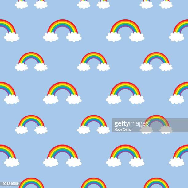 rainbow clouds seamless pattern - marriage equality stock illustrations, clip art, cartoons, & icons