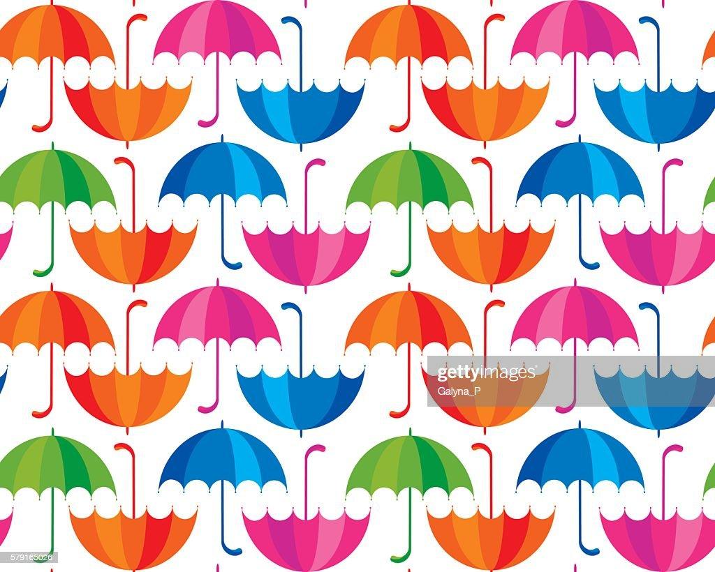 rainbow color umbrella icon flat. cute rain drop colorful seamle