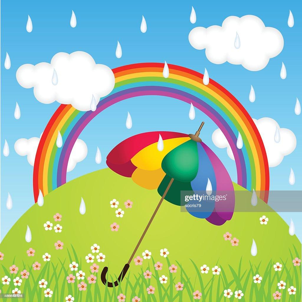 Rainbow Color Umbrella In Raining Sky Vector Art   Getty Images