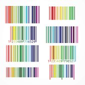 Rainbow colored barcode. Vector illustration.