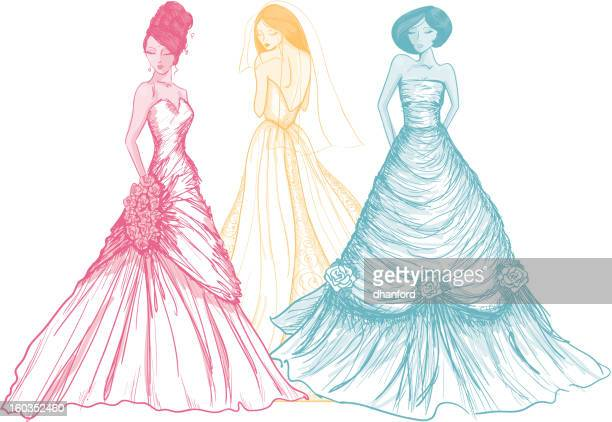 Rainbow colored brides drawn in a sketch like style