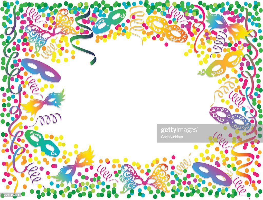 Rainbow colors Carnival frame with confetti and masks