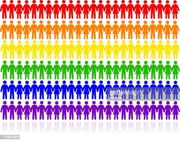 虹色、ゲイ、レズビアン、バイセクシャル、トランスジェンダー&ユニティゲイン - ゲイプライドのシンボル点のイラスト素材/クリップアート素材/マンガ素材/アイコン素材