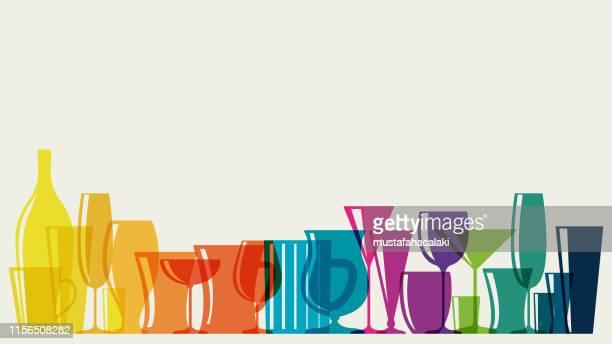 ilustrações, clipart, desenhos animados e ícones de vidros de cocktail coloridos arco-íris - tequila drink