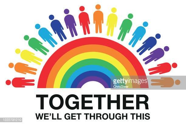 rainbow coronavirus - thank you phrase stock illustrations