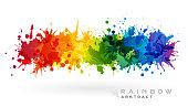 Rainbow creative horizontal banner from paint splashes.