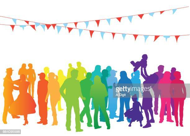 ilustraciones, imágenes clip art, dibujos animados e iconos de stock de fiestas de multitud de arco iris - fiesta