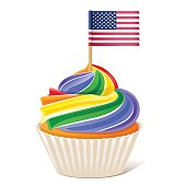 Rainbow Cupcake Love wins. American flag toothpick 10eps