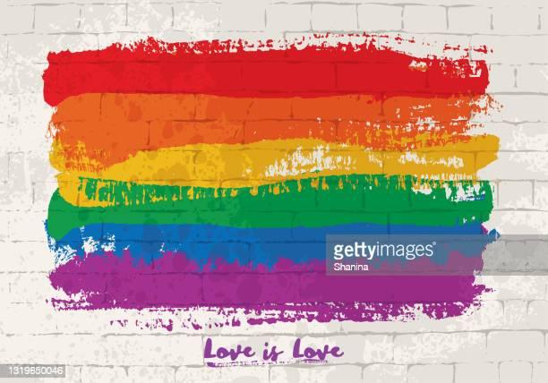 レンガの壁に虹の旗ブラシストローク - lgbtプライド月間点のイラスト素材/クリップアート素材/マンガ素材/アイコン素材