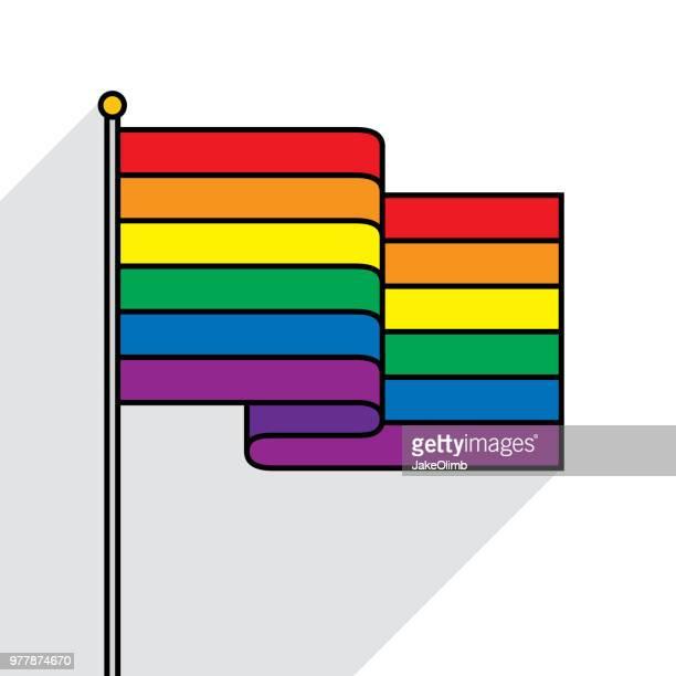 rainbow flag flat outline - gay stock illustrations, clip art, cartoons, & icons