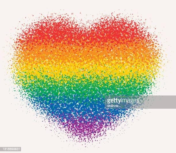 レインボーフラッグハート形状 - 粒状スプレー - ゲイ・パレード点のイラスト素材/クリップアート素材/マンガ素材/アイコン素材