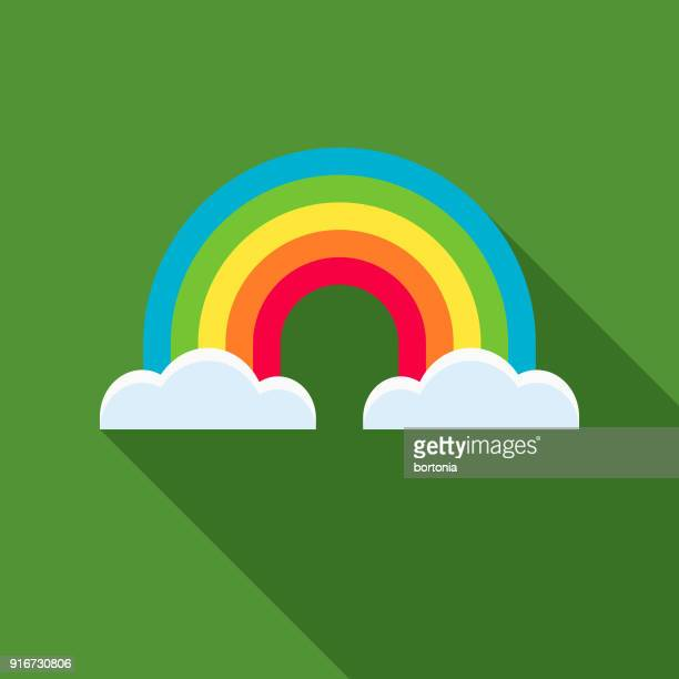 rainbow flat design st. patrick's day icon - rainbow stock illustrations, clip art, cartoons, & icons