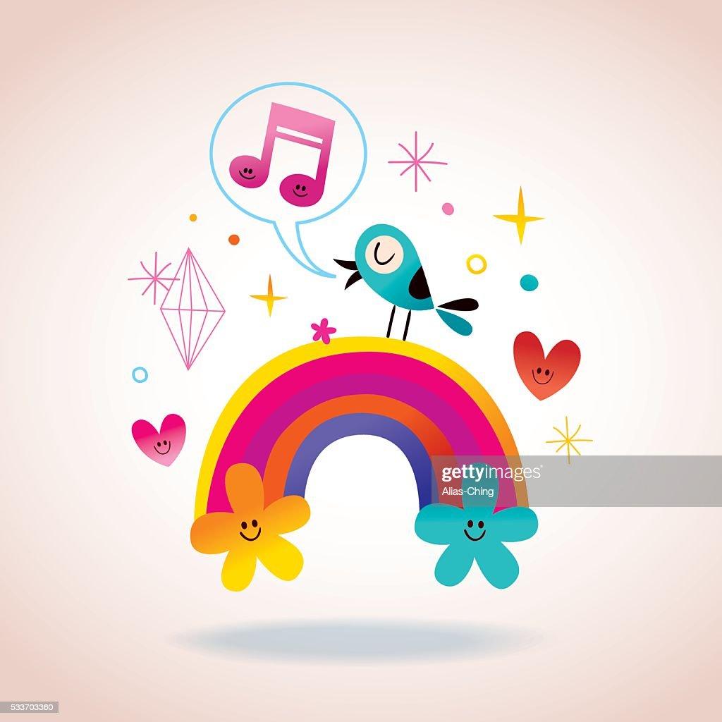 rainbow flowers hearts and singing bird