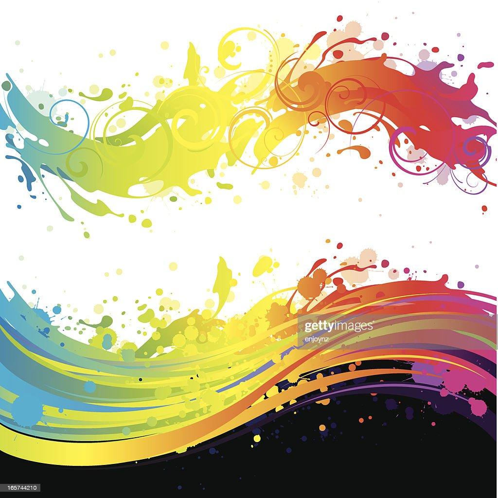 Rainbow flowing splash backgrounds