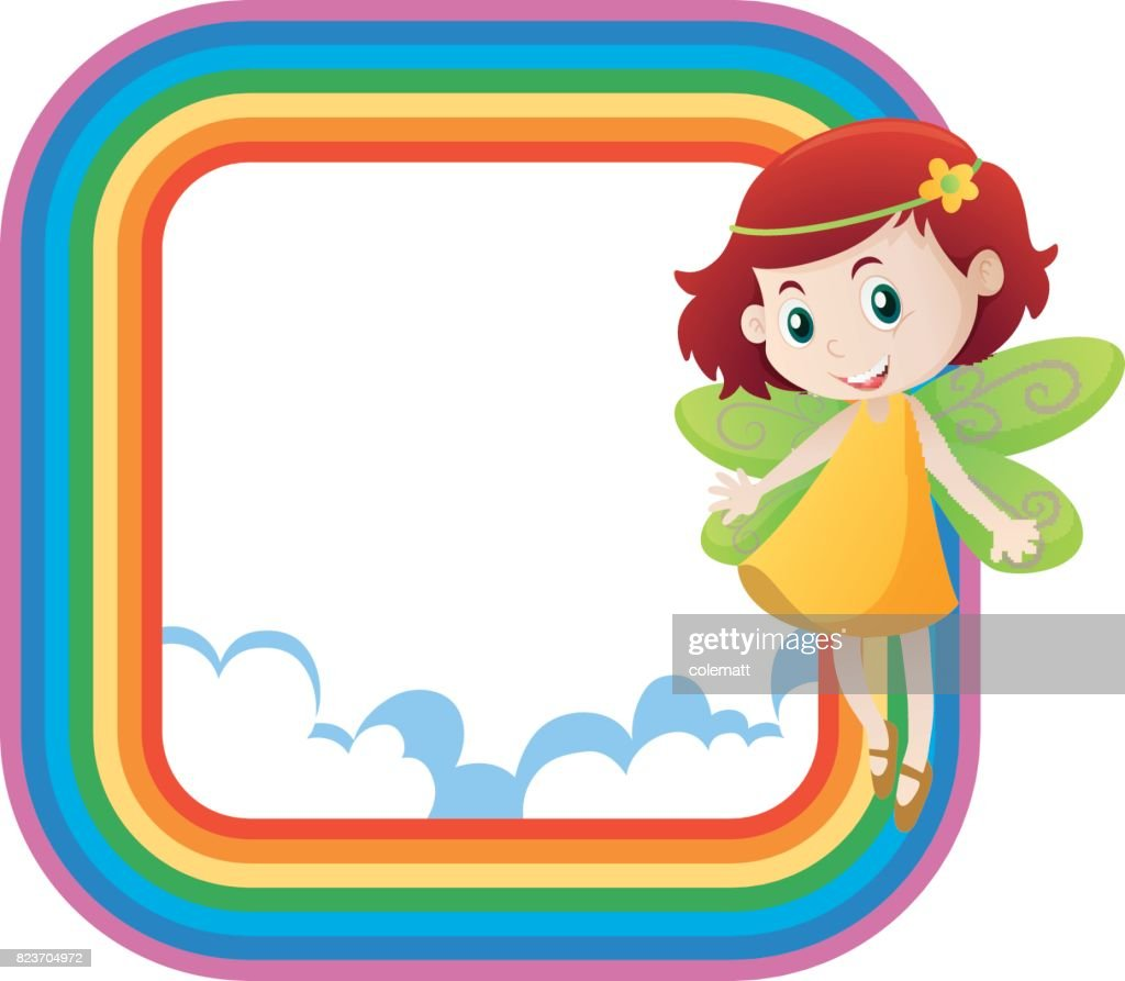 Rainbow Frame With Cute Fairy Flying Vector Art | Getty Images
