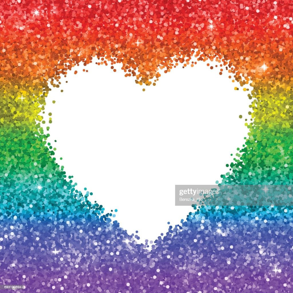 Rainbow glitter heart frame on white background