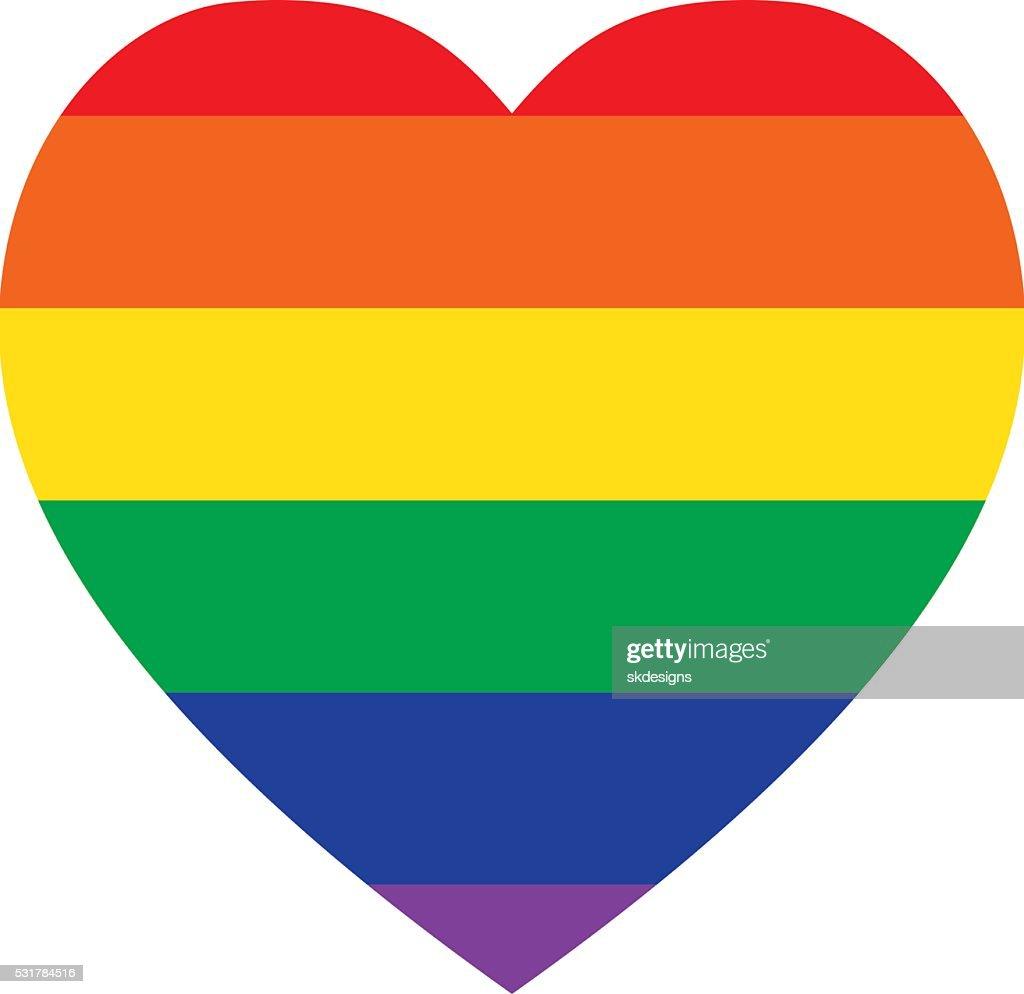 Rainbow Heart Shape - Classic Design, LGBT Icon