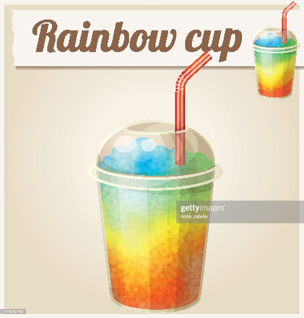 Rainbow ice cup (Frozen drink). Cartoon vector icon. Series of