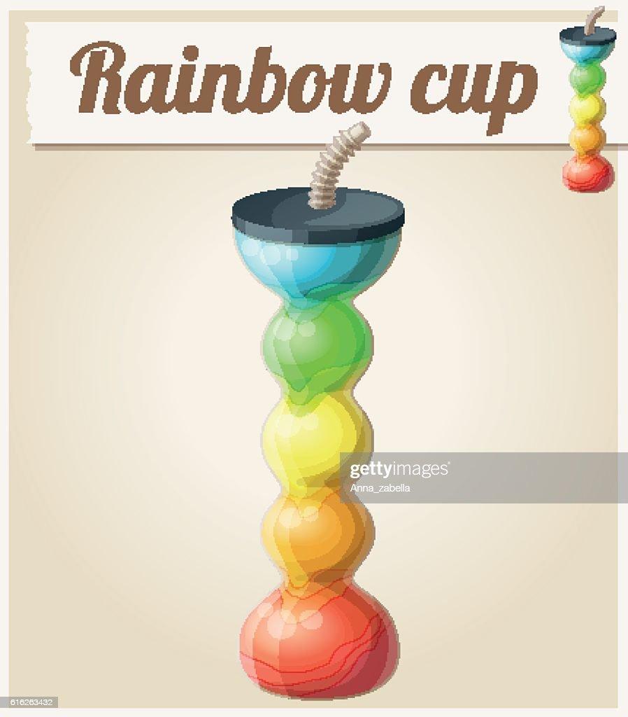 Rainbow ice cup (Frozen drink) unusual shape. Cartoon vector icon : Vector Art