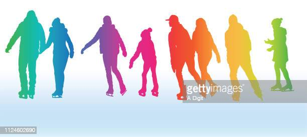 rainbow ice skaters - ice skating stock illustrations, clip art, cartoons, & icons
