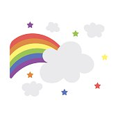 Rainbow icon cartoon. Single gay icon from the big minority,
