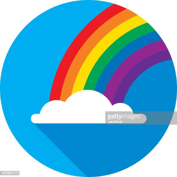 rainbow icon flat circle - rainbow stock illustrations, clip art, cartoons, & icons