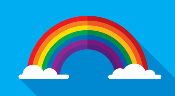 rainbow icon flat - rainbow stock illustrations