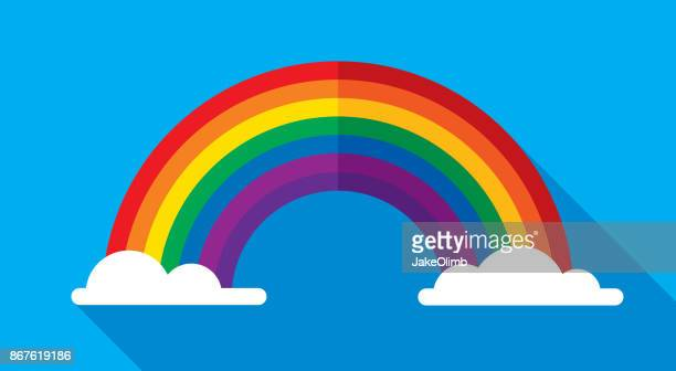 rainbow icon flat - rainbow stock illustrations, clip art, cartoons, & icons