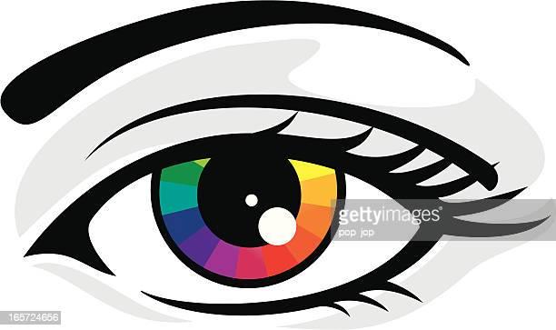 rainbow in eye - printing press stock illustrations