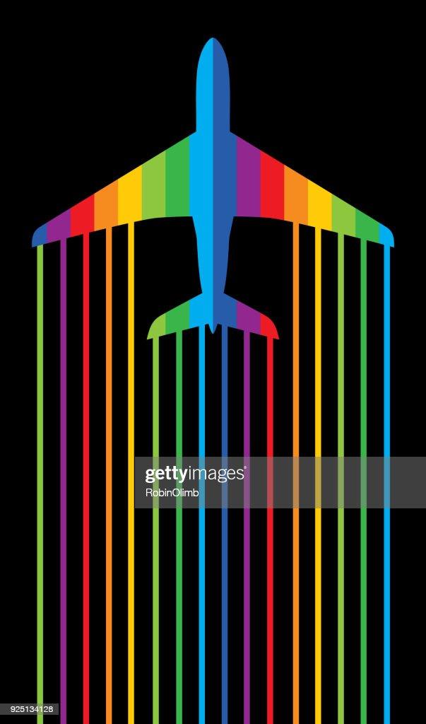 Rainbow Jet Airplane : stock illustration