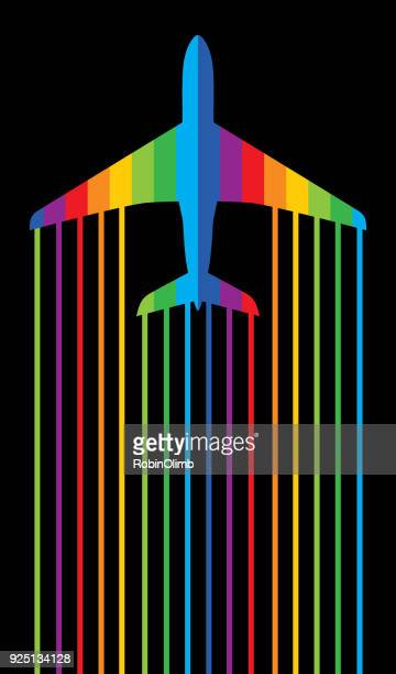 rainbow jet airplane - vapor trail stock illustrations, clip art, cartoons, & icons