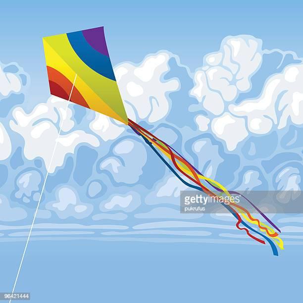 rainbow kite in sky - kite toy stock illustrations, clip art, cartoons, & icons