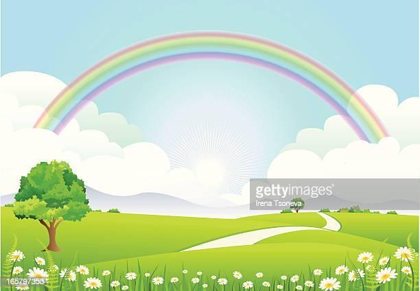 rainbow landscape - rainbow sky stock illustrations