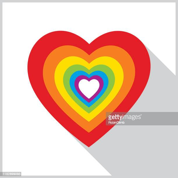 rainbow layered heart shadow icon - anniversary card stock illustrations